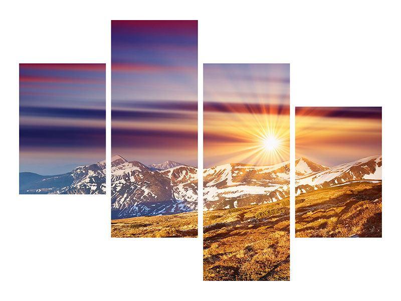 Leinwandbild 4-teilig modern Majestätischer Sonnuntergang am Berggipfel