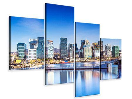Leinwandbild 4-teilig modern Skyline Oslo