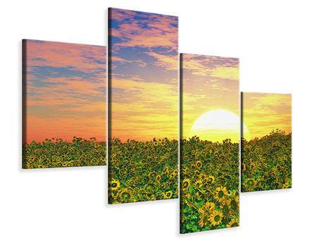 Leinwandbild 4-teilig modern Blumenpanorama bei Sonnenuntergang