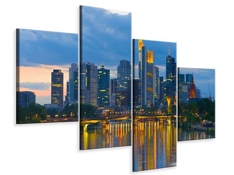 Leinwandbild 4-teilig modern Skyline Frankfurt am Main