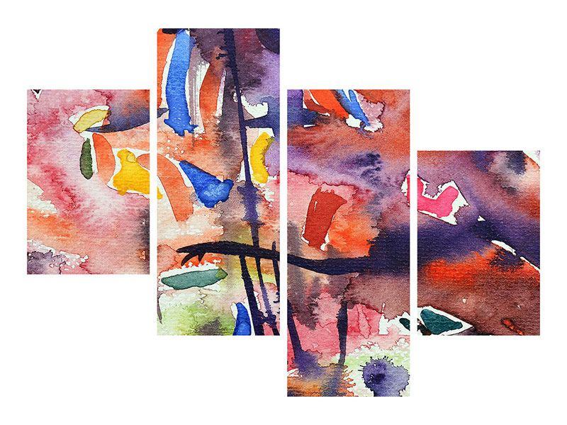 Leinwandbild 4-teilig modern Aquarell