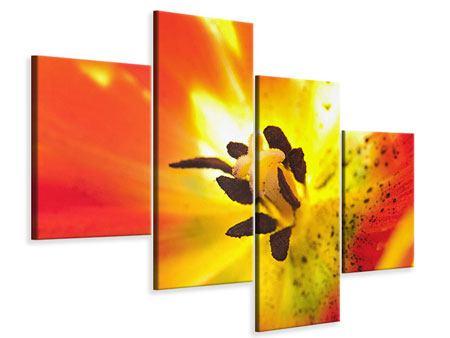 Leinwandbild 4-teilig modern Die Narbe einer Tulpe XXL