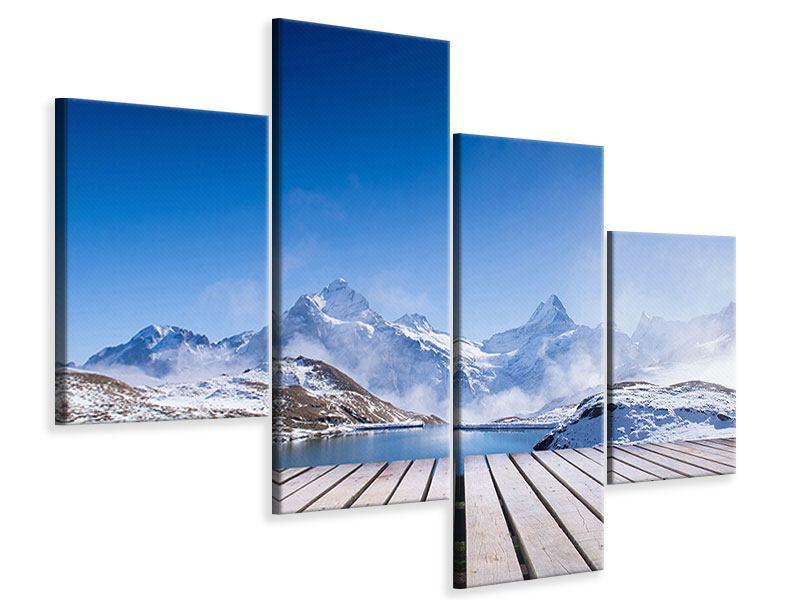Leinwandbild 4-teilig modern Sonnenterrasse am Schweizer Bergsee