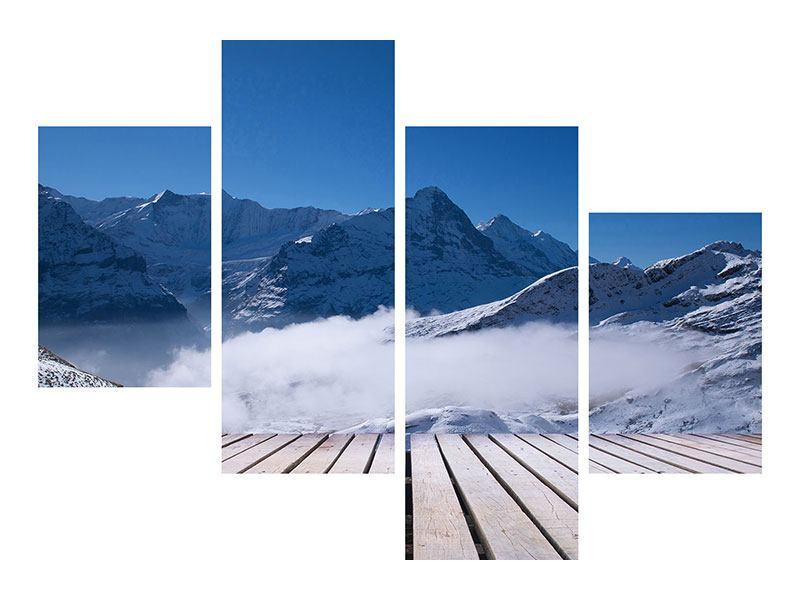 Leinwandbild 4-teilig modern Sonnenterrasse in den Schweizer Alpen