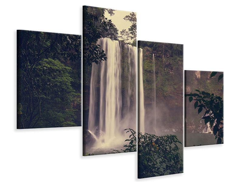 Leinwandbild 4-teilig modern Wasserfall in Mexiko