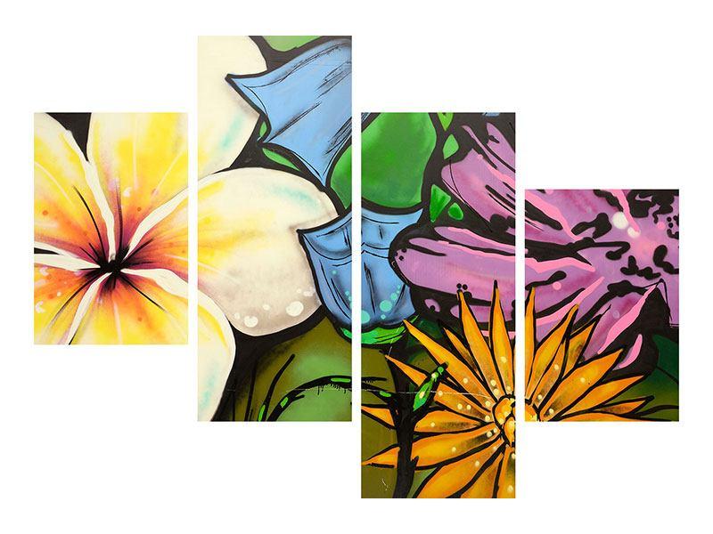 Leinwandbild 4-teilig modern Graffiti Flowers