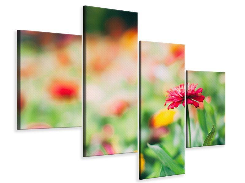 Leinwandbild 4-teilig modern Im Blumengarten