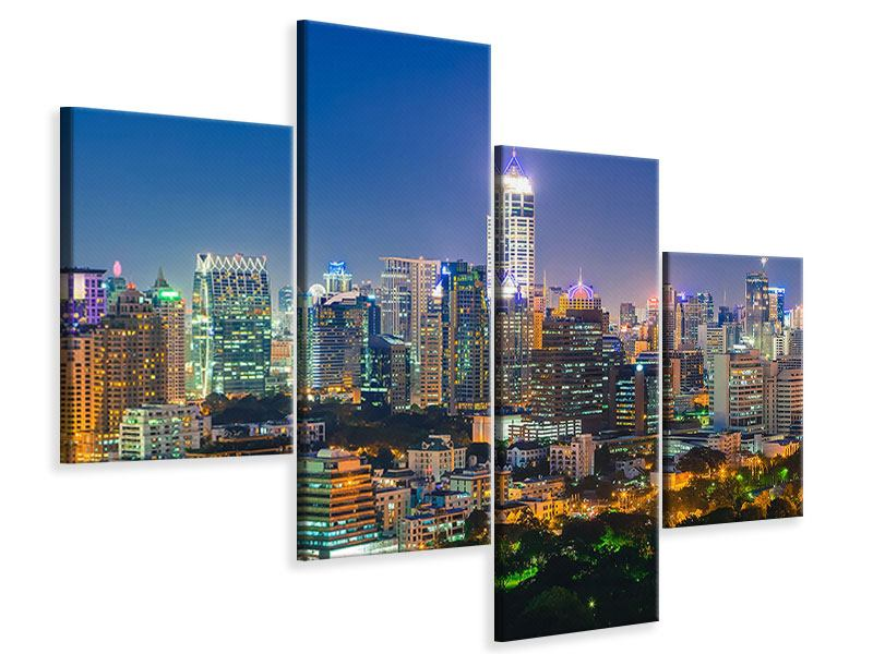 Leinwandbild 4-teilig modern Skyline One Night in Bangkok