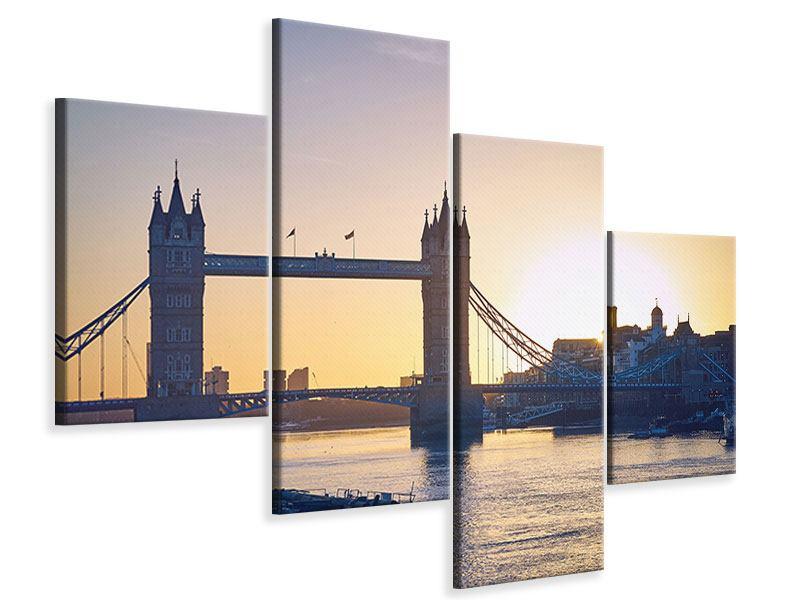 Leinwandbild 4-teilig modern Tower Bridge bei Sonnenuntergang