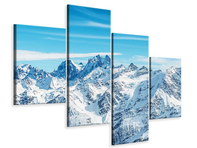 Leinwandbild 4-teilig modern Alpenpanorama
