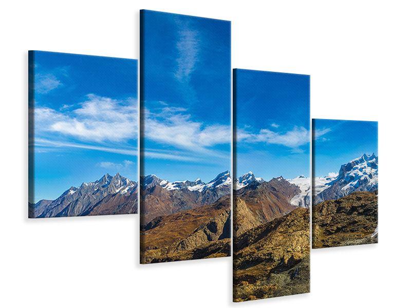 Leinwandbild 4-teilig modern Schweizer Alpen im Frühling