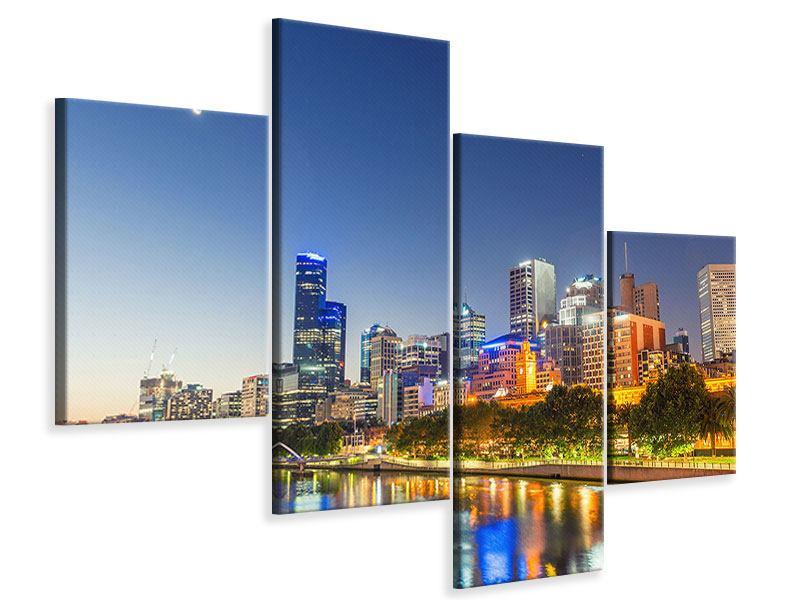 Leinwandbild 4-teilig modern Skyline Sydney in der Abenddämmerung