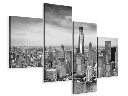 Leinwandbild 4-teilig modern Skyline Schwarzweissfotografie New York