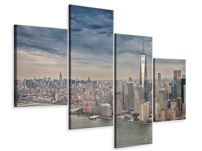 Leinwandbild 4-teilig modern Skyline Manhattan