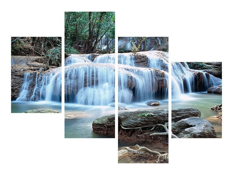 Leinwandbild 4-teilig modern Ein Wasserfall