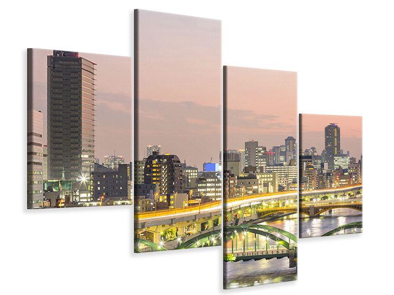 Leinwandbild 4-teilig modern Skyline Das Lichtermeer von Tokio
