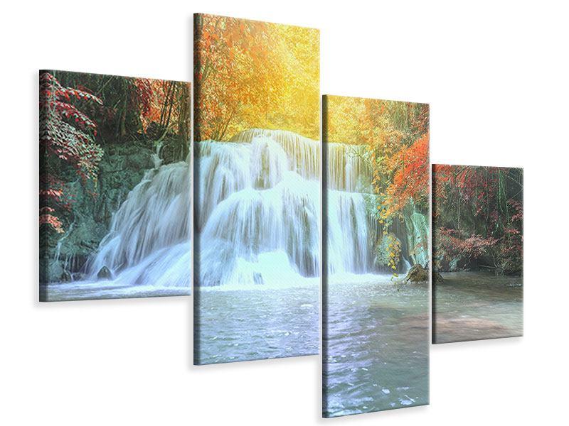 Leinwandbild 4-teilig modern Wasserfall im Licht