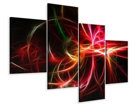Leinwandbild 4-teilig modern Fraktales Lichtspektakel
