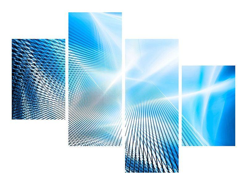 Leinwandbild 4-teilig modern Laser