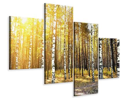 Leinwandbild 4-teilig modern Birkenwald
