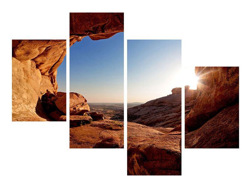 Leinwandbild 4-teilig modern Sonnenuntergang vor der Höhle