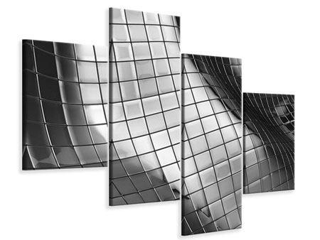 Leinwandbild 4-teilig modern Abstrakter Stahl
