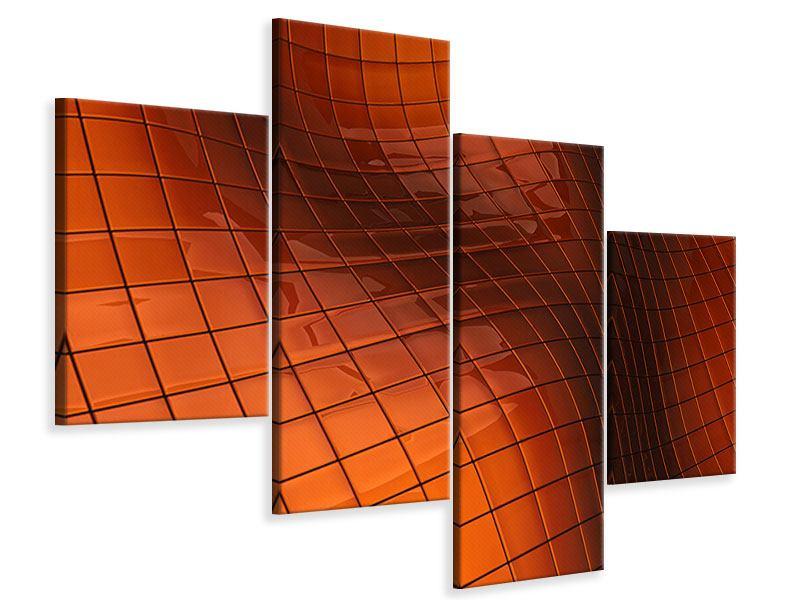 Leinwandbild 4-teilig modern 3D-Kacheln