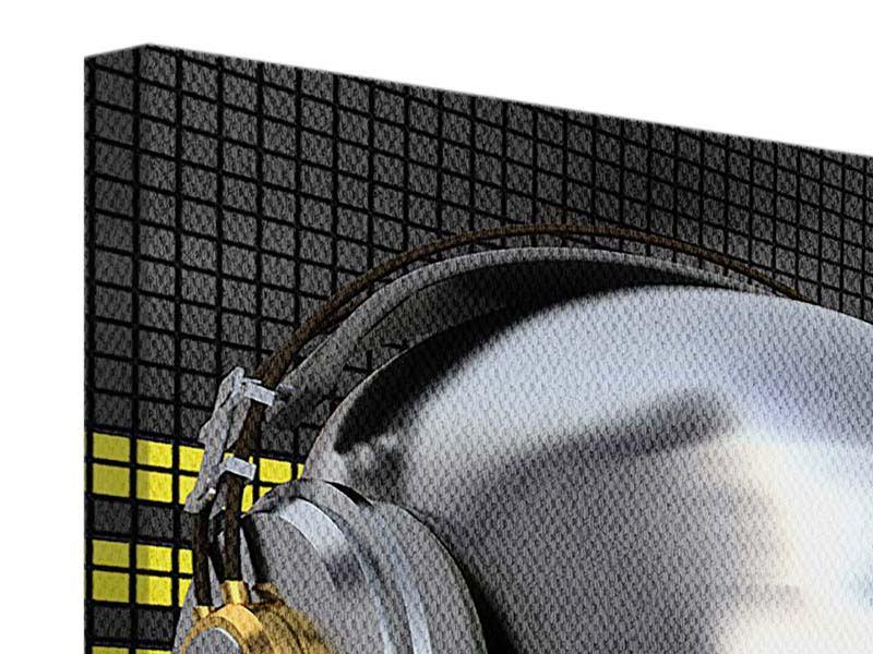 Leinwandbild 4-teilig modern Futuristischer DJ
