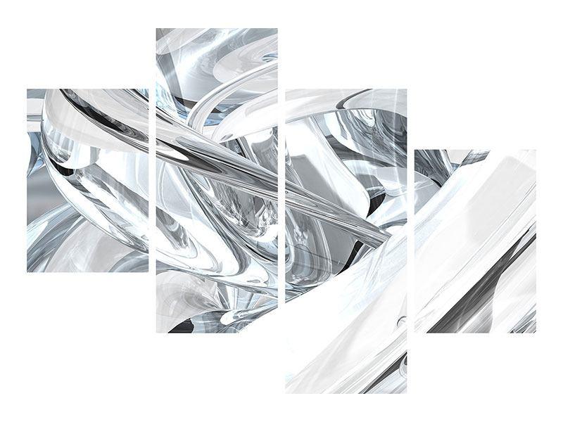 Leinwandbild 4-teilig modern Abstrakte Glasbahnen