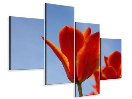 Leinwandbild 4-teilig modern Rote Tulpen in XXL