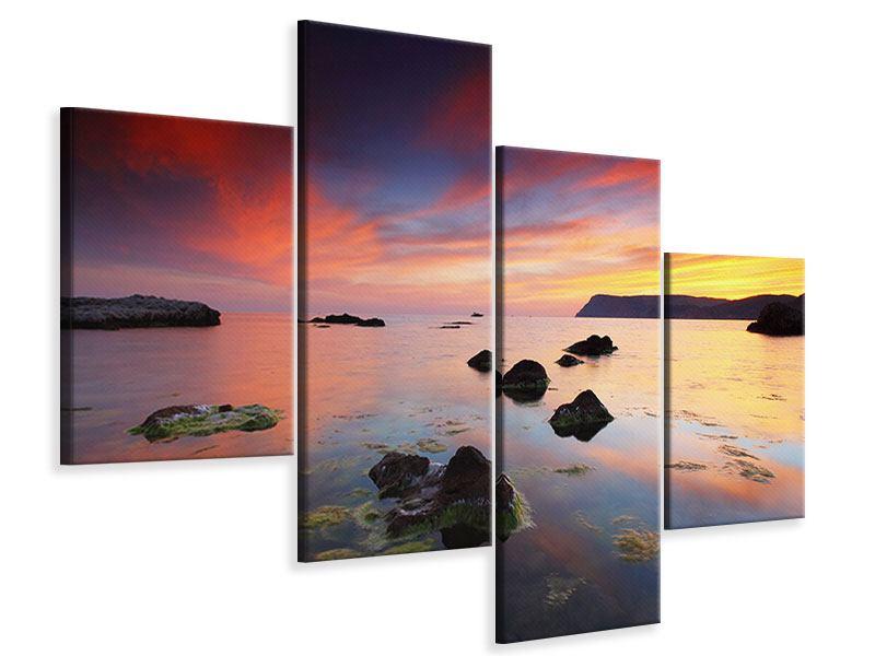 Leinwandbild 4-teilig modern Ein Sonnenuntergang am Meer