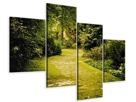 Leinwandbild 4-teilig modern Der bemooste Weg