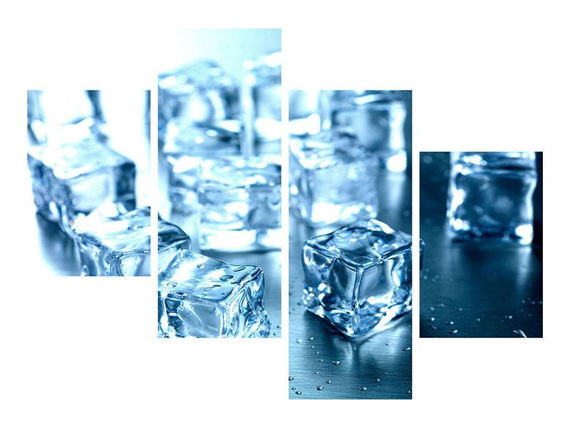 Leinwandbild 4-teilig modern Viele Eiswürfel