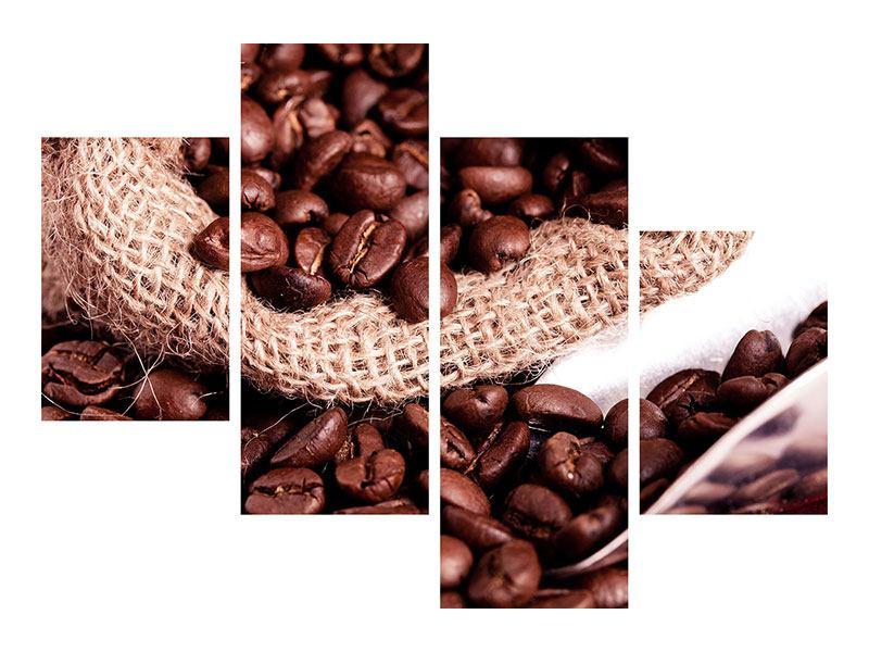 Leinwandbild 4-teilig modern XXL Kaffeebohnen