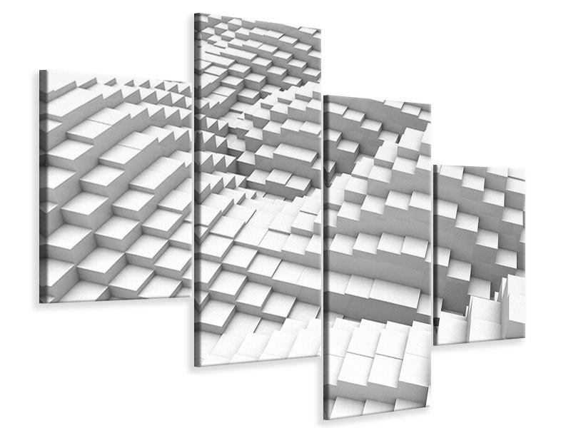 Leinwandbild 4-teilig modern 3D-Elemente