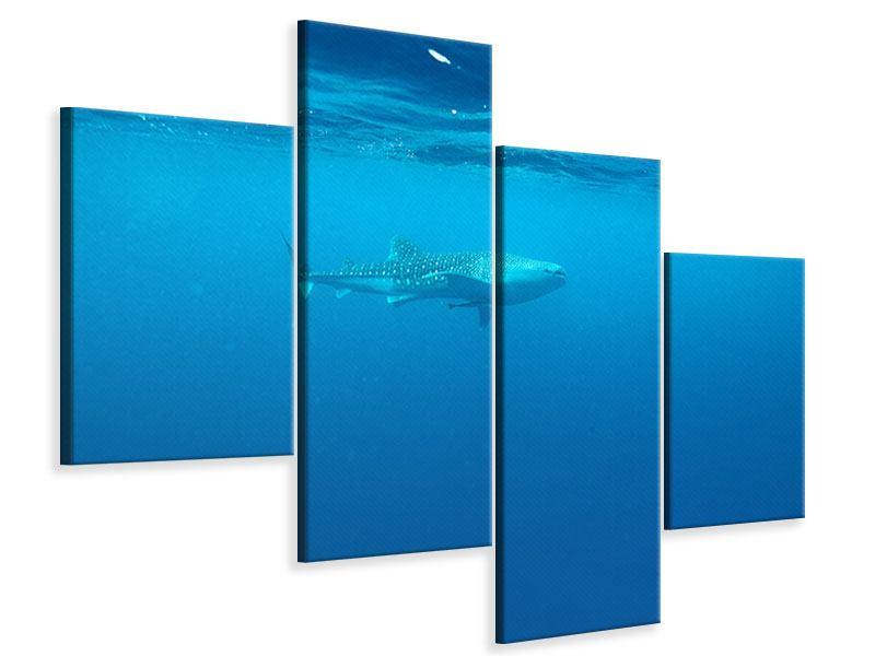 Leinwandbild 4-teilig modern Der Walhai