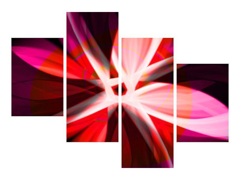 Leinwandbild 4-teilig modern Abstrakt Flower Power