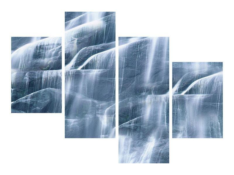 Leinwandbild 4-teilig modern Grossartiger Wasserfall