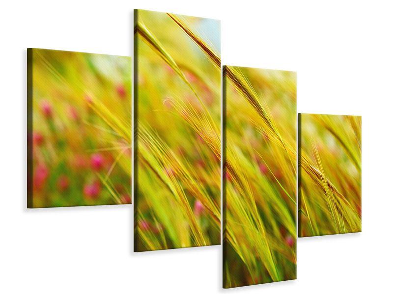Leinwandbild 4-teilig modern Das Weizenfeld
