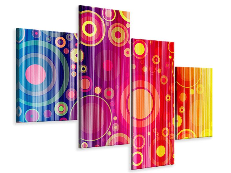 Leinwandbild 4-teilig modern Grunge-Retrokreise