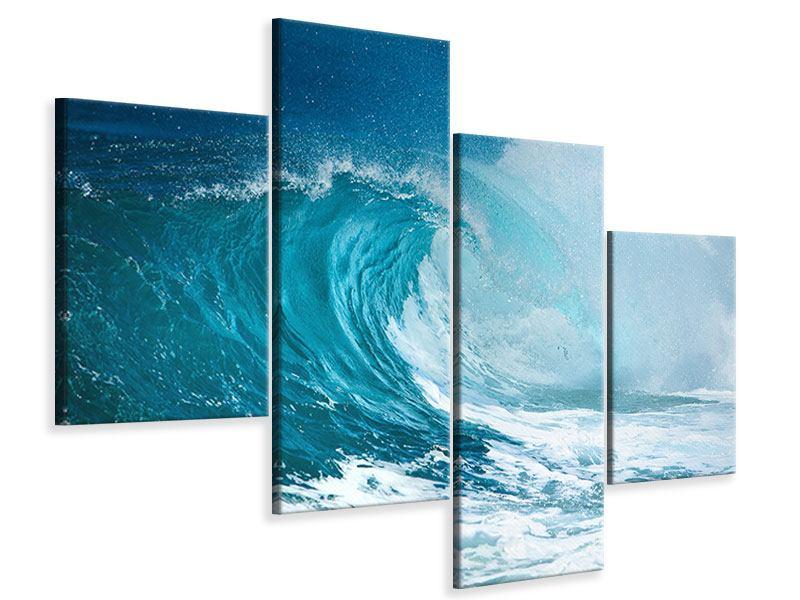 Leinwandbild 4-teilig modern Die perfekte Welle