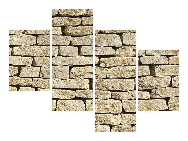 Leinwandbild 4-teilig modern Alte Mauer