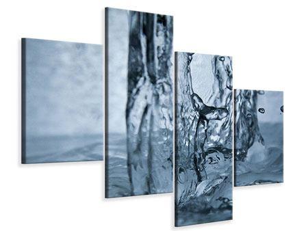 Leinwandbild 4-teilig modern Wasserdynamik
