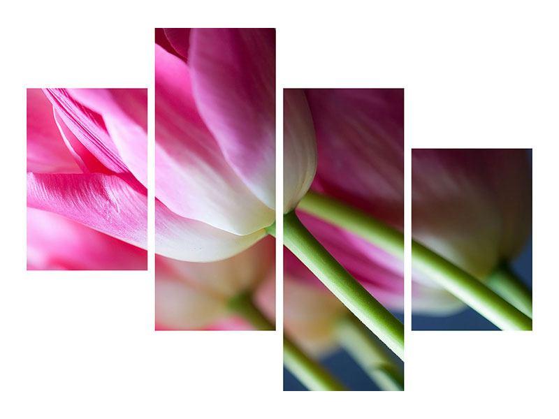 Leinwandbild 4-teilig modern Makro Tulpen