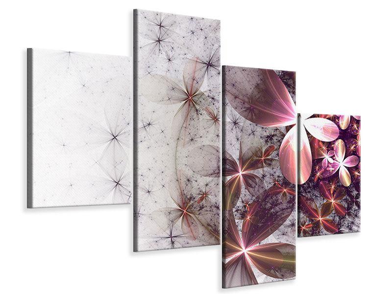 Leinwandbild 4-teilig modern Abstrakte Blumen