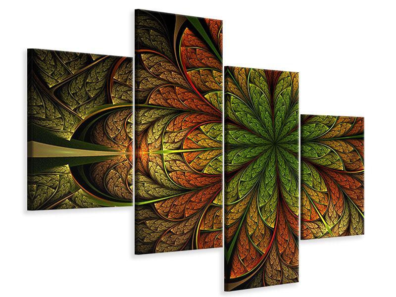Leinwandbild 4-teilig modern Abstraktes Blumenmuster