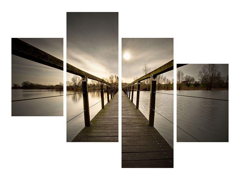 Leinwandbild 4-teilig modern Die Holzbrücke