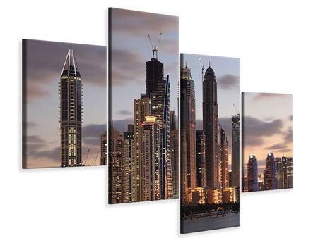 Leinwandbild 4-teilig modern Skyline Dubai bei Sonnenuntergang
