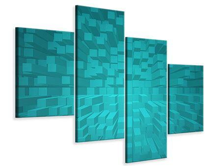 Leinwandbild 4-teilig modern 3D-Kubusse