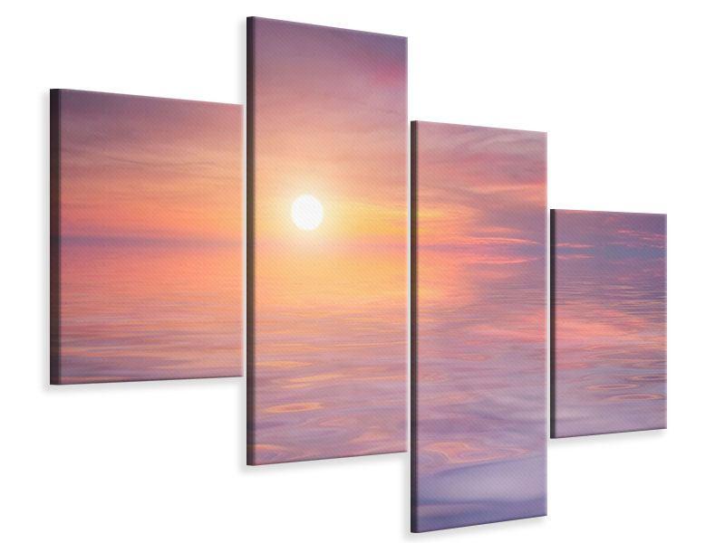 Leinwandbild 4-teilig modern Sonnenuntergang auf See